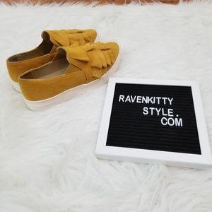 Anthropoglie Marigold Ruffle Leather Slip Ons 8